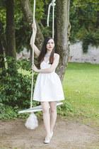 white Zara dress - metallic c&a heels