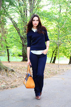 navy navy Bershka jeans - bronze leather Stradivarius bag