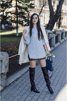 over-the-knee Zara boots - boyfriend coat OASAP coat - knit sweater Zara sweater