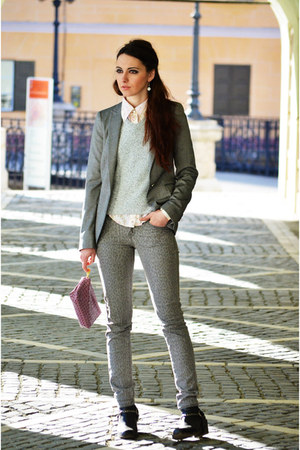 H&amp;M boots - Mango jeans - heather gray Zara blazer