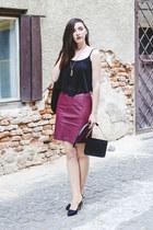 black H&M bag - brick red faux leather H&M skirt - black sheer fishbone top