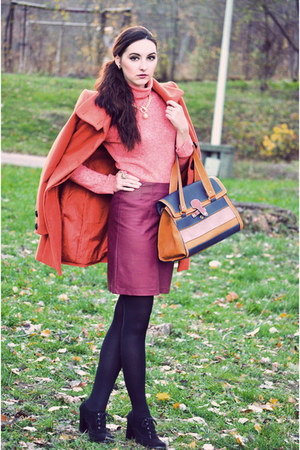 tawny Stradivarius bag - carrot orange Stradivarius coat - crimson H&M skirt