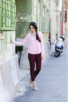 crimson Zara pants - eggshell Zara heels - light pink Front Row Shop top