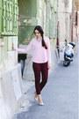 Light-pink-front-row-shop-top-crimson-zara-pants-eggshell-zara-heels