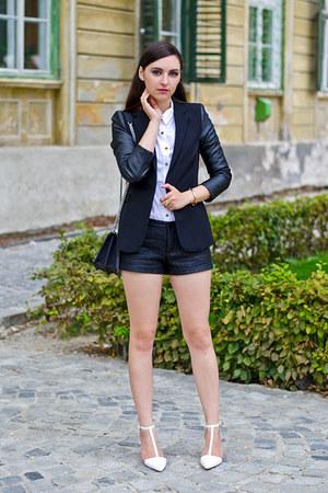 black Zara blazer - black Zara shorts - white Zara heels