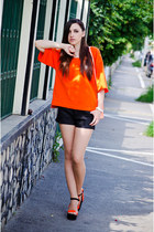 black Zara shorts - carrot orange Zara blouse