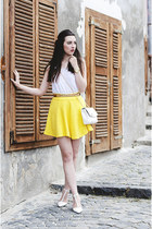 white Tally Weijl bag - white Pimkie top - yellow H&M skirt - white Zara heels