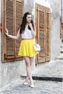 White-tally-weijl-bag-yellow-h-m-skirt-white-pimkie-top-white-zara-heels