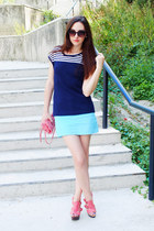 pink Dororthy Perkins bag - round Orsay sunglasses - turquoise random skirt