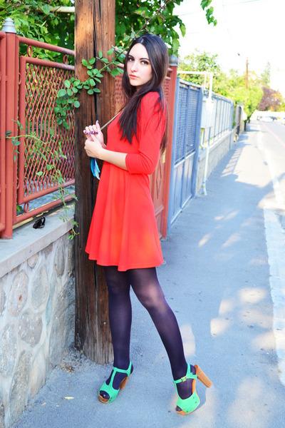 carrot orange New Yorker dress - Eponge heels