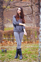 gray pull&bear sweater - heather gray Mango jeans