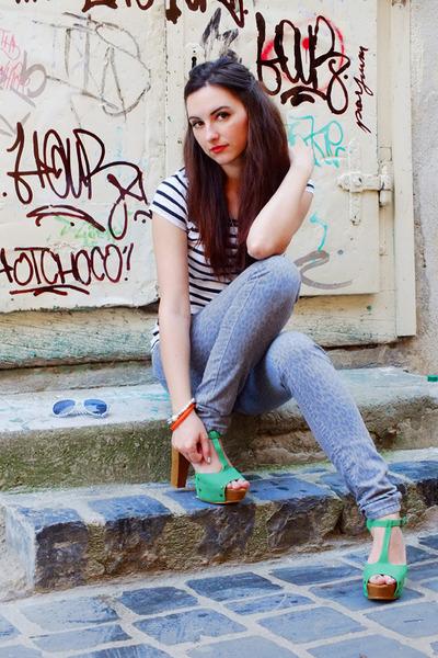 green Eponge heels - silver leopard print Mango jeans - stripes Pimkie shirt