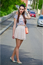 cream lace H&M skirt - H&M bag