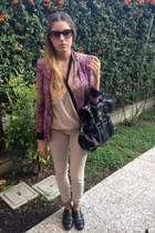 magenta peisley Zara blazer - dark gray shoes - dark gray Zary bag