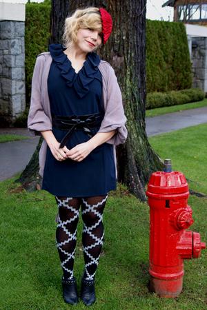 blue Hawks dress - black urban outfitter tights - black Deena & Ozzy boots - bei