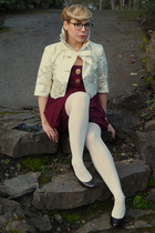 brown Liz Clairbone shoes - white American Eagle tights - gold Costa Blanca vest