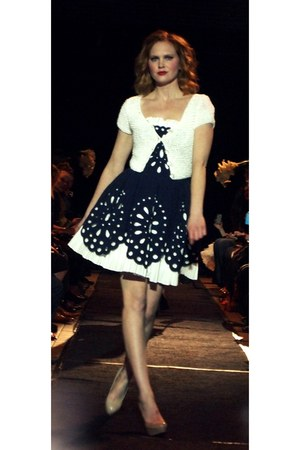 navy patterned Betsey Johnson dress - white short-sleeved Betsey Johnson cardiga