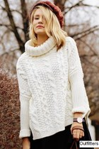 Free Shipping Outfitters White Long Sleeve Turtleneck Chunky Cable Knit Sweater