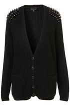 Free Shipping Outfitters Black V-neck Rivet Shoulder Double Pockets Cardigan