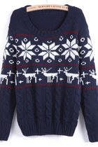Free Shipping Outfitters Navy Long Sleeve Snowflake Deer Pattern Sweater