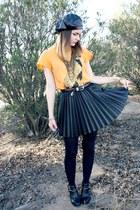 H&M skirt - leather newsboy hat - cheeta t wildfox couture shirt