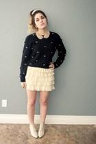 bow sweater sweater - heels - layered ruffle skirt