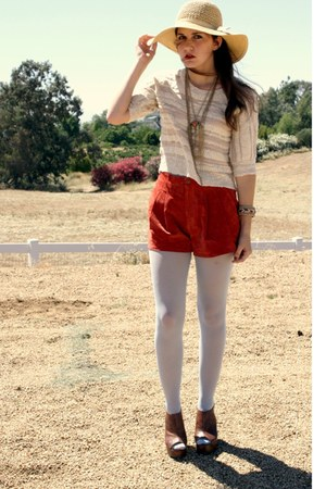 gold necklaces necklace - floppy sun hat hat - sweater - tights - shorts