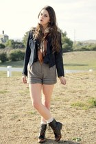 suede jacket - roper lace up boots - map scarf - shorts - lace knee high socks