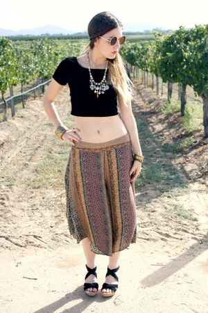 vintage necklace - oversized 80s purple sunglasses - palazzo free people pants