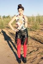 fringe Bebe shorts - red tights - magazine vintage top