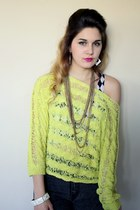 jeans - neon yellow sweater - bw crop tank top - bw square earrings