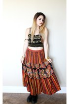 red turquoise ring - bracelet - hippie maxi skirt - top