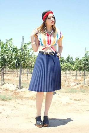 stripe crop top - skirt - clog Jeffery Campbell heels