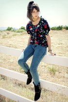 floral shirt shirt - boots - jeans - cross necklace necklace