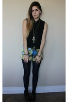 snake bracelet - baroque print shorts - top - gold fish necklace