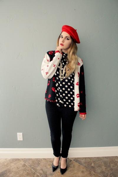blouse - red beret hat - lip sweater - pumps Nine West heels