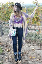 tie dye cardigan - high rise BDG jeans - western concho hat - led zeppelin shirt