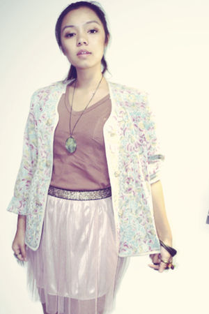 pink vintage skirt - blue vintage coat - brown vintage shirt - brown vintage bra