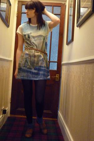 Topshop dress - M&S stockings - Topshop socks - Office shoes - Topshop belt