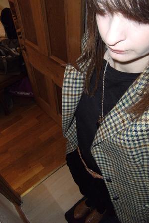 My Boyfriends t-shirt - Topshop skirt - vintage blazer - Topshop tights