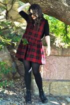 black Dr Martens boots - brick red corduroy thrifted dress - black Target shirt