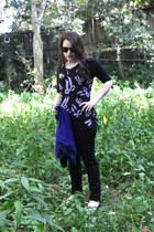black Ksubi jeans - black body sock shirt - blue Pins & Needles cardigan - white