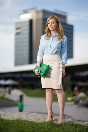 Ama Fashion skirt - Ama Fashion shirt - Busta bag