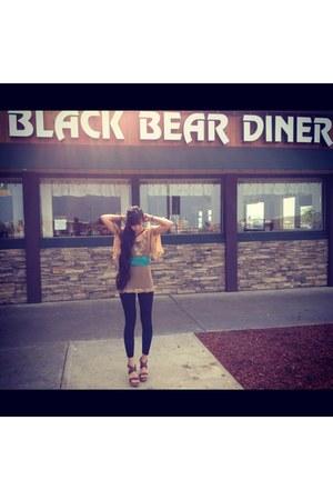 bohemian Forever 21 blouse - black American Apparel leggings