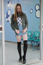 spots MIKA & GALA blouse - army jacket Sussan jacket - denim skirt Cozbest skirt