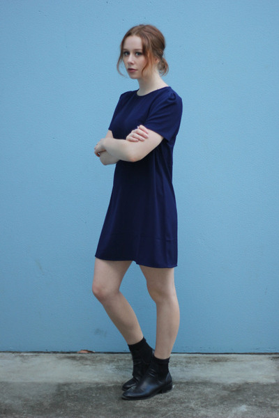 black ankle boots Lipstik boots - dress shift PopCherry Fashion dress