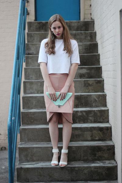 neutral Style Societe skirt - light pink clutch Myer bag