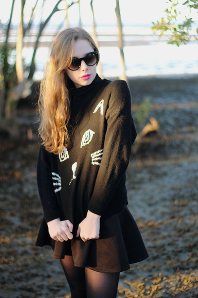 black Sheinside jumper - black sunglasses zeroUV sunglasses - black OASAP skirt