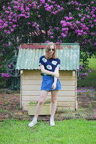 navy crop top Urban Outfitters shirt - blue denim shorts Tanee Clothing shorts