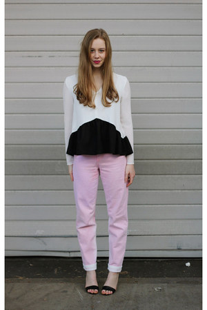 eggshell peplum Three Of Something blouse - light pink mom jeans Topshop jeans